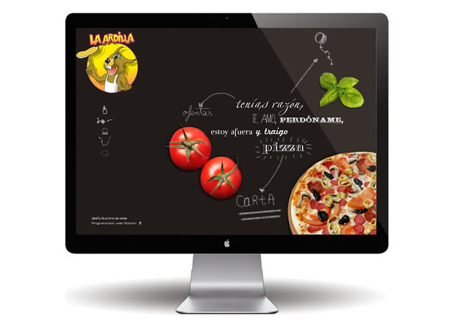 pagina-web-la-ardilla-pizzeria-saron-diseño-original-pizarra-negro-tiza-dibujos-color-tizas-que-tono-de-verde